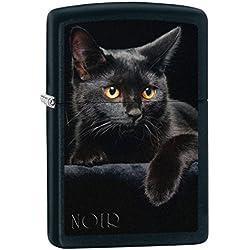 Zippo Lighter: Black Cat - Black Matte 76491