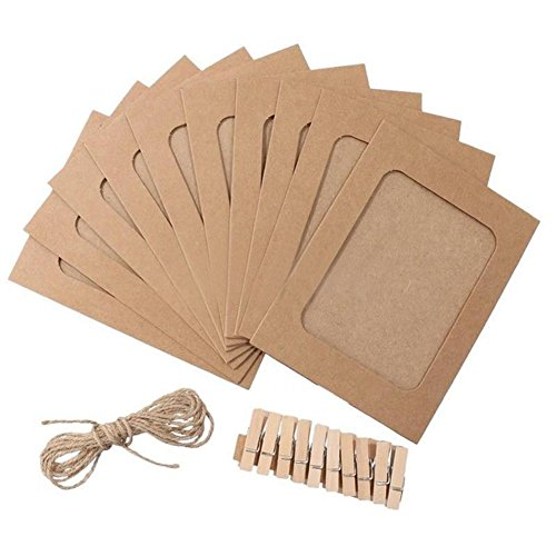 10 Pcs DIY Postcard Paper Photo Frame Wall Deco With Wooden Clips And Rope - Wooden Craft Frames