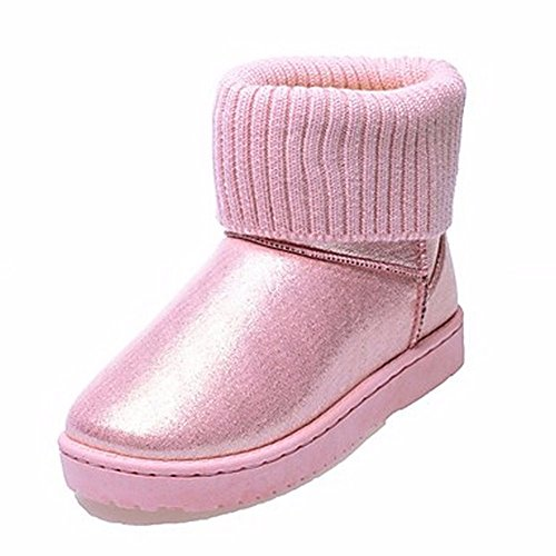 Autunno Tonda Scarpe Nero Pink Zhudj Donna Casual Beige Rosa Boots Viola Sequin Punta Snow Arrossendo Per Stivali EdA0UxqA