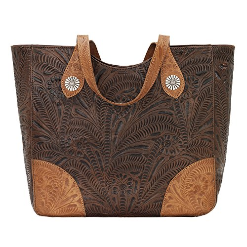 American Handbag West Western (American West Annie's Secret Collection Large Zip Top Tote, Chestnut Brown / Golden Tan)