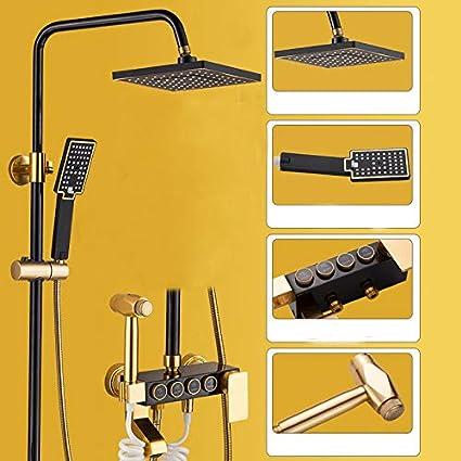 Espace de douche en aluminium noir or douche ensemble de douche /à quatre vitesses toilettes t/ête de douche pressuris/é bouton trois