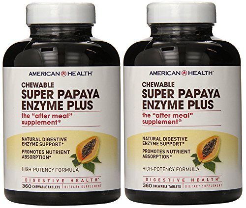 American Health – Super Papaya Enzyme Plus Chewable High Potency – 360 Chewable Tablets, Pack of 2