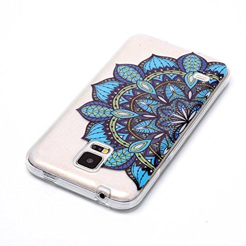 mokyo Samsung Galaxy S5Funda Suave, transparente Gel TPU Funda de silicona con [libre Stylus Lápiz] antigolpes antiarañazos Teléfono de buzón Super fina goma Rubber Carcasa Transparente jalea piel Sa azul flores