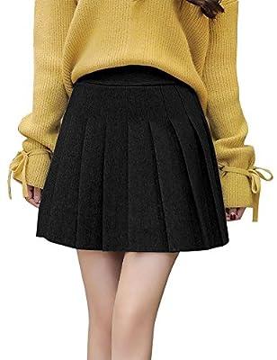 IDEALSANXUN Women's High Waist A-line Short Mini Pleated Skirt