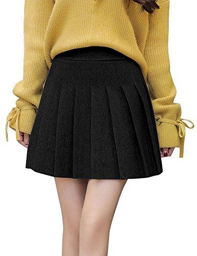 IDEALSANXUN Women's Wool High Waist A-Line Short Mini Pleated Skirt (Black, Small) (Soft Wool Skirt)