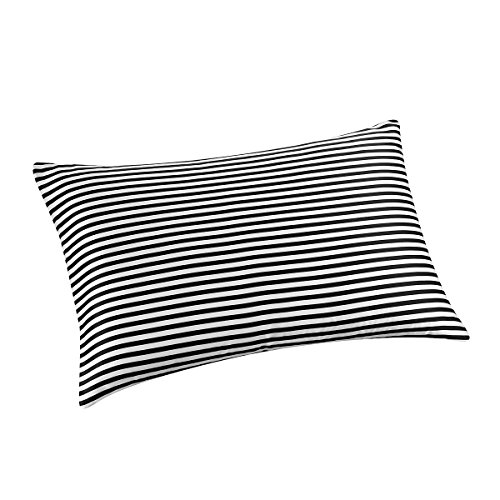 (ALASKA BEAR - Natural Silk Pillowcase, Hypoallergenic, 19 Momme, 600 Thread Count 100 Percent Mulberry Silk, Queen Size with Hidden Zipper(1, Black and White Stripe))