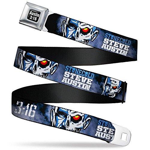 Buckle-Down Men's Seatbelt Belt WWE XL, Stone Cold Steve Austin: face/Skull Split Black/Blues/White, 1.5