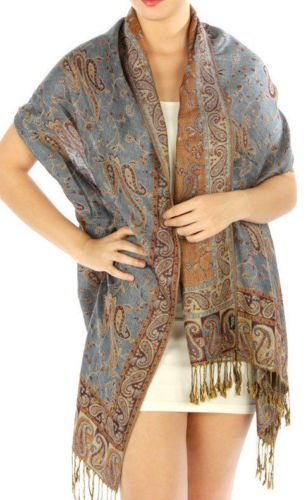 Fashion Lady Outlined Scarf Shawl Wrap 4 COLORS (Pale Blue) Coldwater Dye