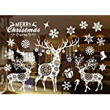 Christmas Window Stickers Decorations Clings Decal Colorful Santa Removable Films Large Wall Door Mural Sticker for Marry Christmas Showcase Holidays Xmas Decoration 55 X 38cm /21.6 X 15''(802)