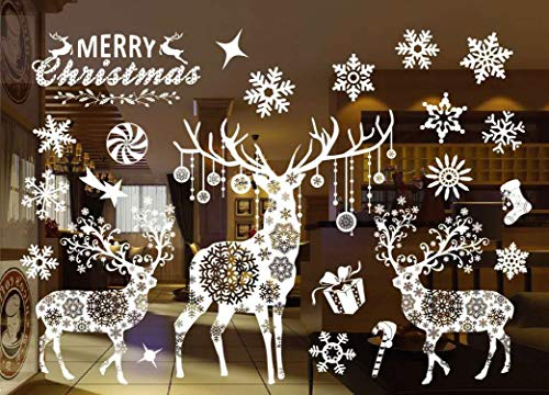 Christmas Window Stickers Decorations Clings Decal Colorful Santa Removable Films Large Wall Door Mural Sticker for Marry Christmas Showcase Holidays Xmas Decoration 55 X 38cm /21.6 X 15(802)