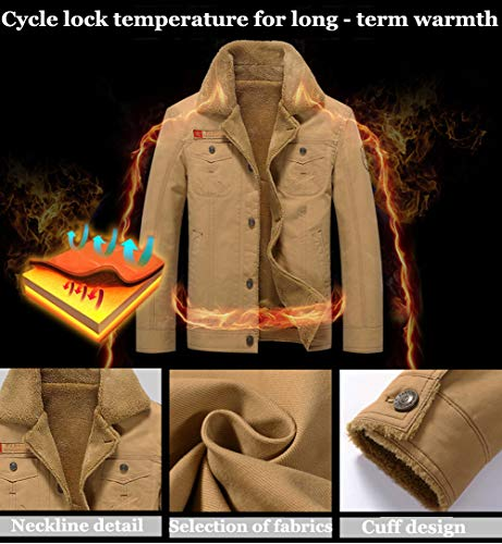92c8dfb4d4f XinDao Men s Plus Cotton Warm Fur Collar Casual Button Military Cargo  Windproof Jacket Outwear Parka Winter
