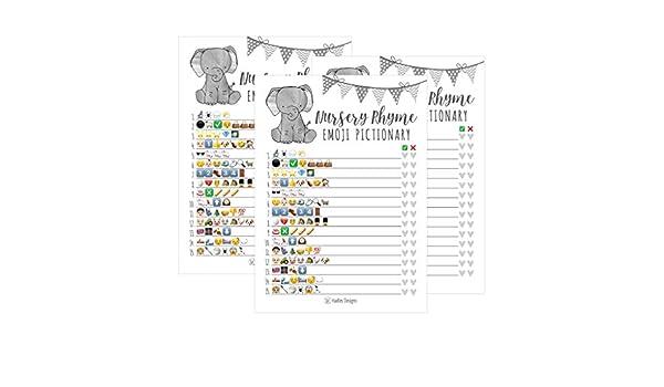 25 elefantes Emoji guardería Rhyme Baby Shower Juego de fiesta ...