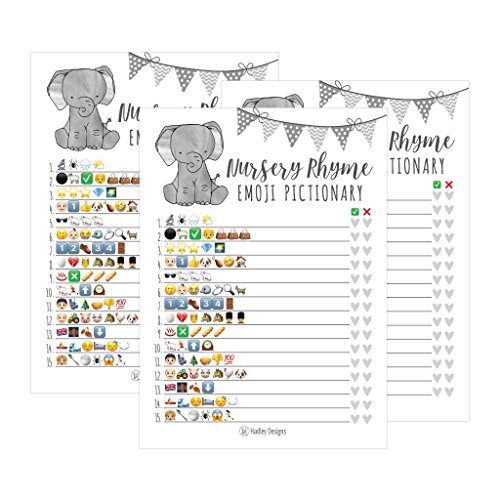 25 Elephant Emoji Nursery Rhyme Baby Shower Game Party Ideas For Pictionary Quiz, Boys Girls Kids Men Women and Couples, Cute Classic Bundle Pack Set Gray Gender Neutral Unisex Fun Coed Guessing Card ()