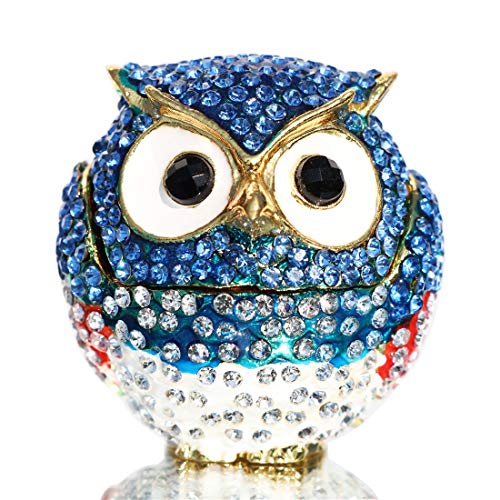 Accent Blue Ring Diamond Enamel (Waltz&F Diamond Pink owl Light Blue Openwork owlTrinket Box Hinged Hand-Painted Figurine Collectible Ring Holder with Gift Box)