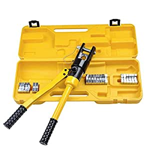 Portable 16 Ton Hydraulic Crimping Tool Wire Terminal Crimper w/Carry Case & 11 Dies with Ebook