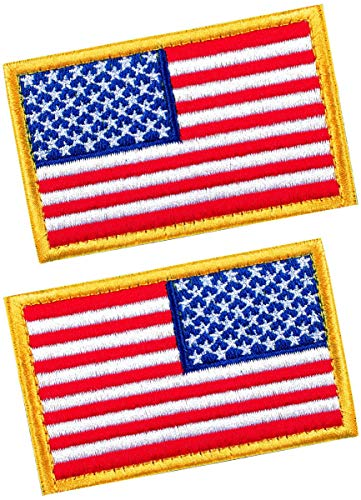 (2 PCS Tactical Patches of USA US American Flag Regular and Reverse, with Hook and Loop for Backpacks Caps Hats Jackets Pants, Military Army Uniform Emblems, Size 3x2 Inches)
