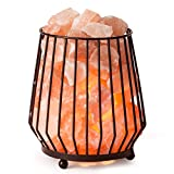 CRYSTAL DECOR Natural Himalayan Salt Lamp in Barrel Design Metal Basket Lamp with Dimmable Cord