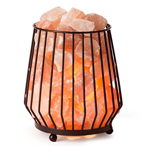 Carved Barrel (CRYSTAL DECOR Natural Himalayan Salt Lamp in Barrel Design Metal Basket Lamp with Dimmable Cord)