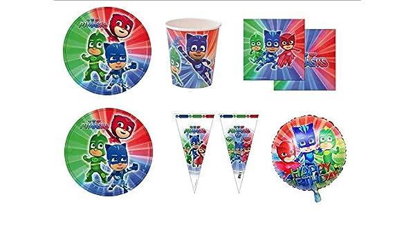 PJ MASKS Super pigiamini coordinato addobbi Día - Kit N ° 22 cdc- (16 platos, 16 vasos, 20 servilletas, 1 Balón Foil, 25 conos Puerta Marshmallow): ...