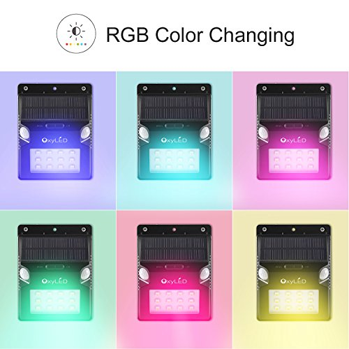 Solar Lights, OxyLED Wireless 12 LED Solar Motion Sensor Step Lights, Outdoor Wall Lights, Security Color-Changing Lights, Waterproof Landscape Light for Outdoor, Garden Decor, Patio, 2 Pack by OxyLED (Image #4)
