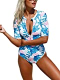 Nicetage Women's UV Sun Protection Half-Sleeve Rash Guards Half-Zip Swimsuit 410203(Blue, S)