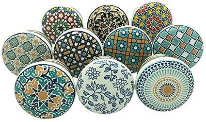 Juego de 10 pomos de cerámica para puertas de armario y cajones de G Decor, estilo vintage: Amazon.es: Bricolaje y herramientas