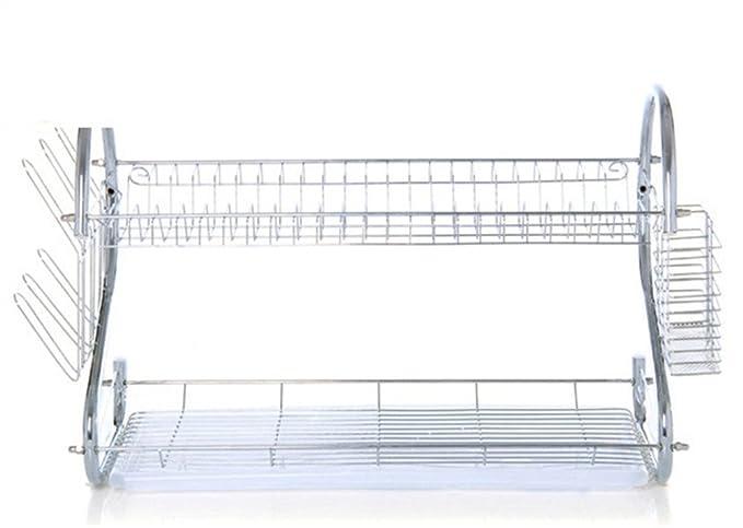 Drain Storage Rack Kitchen Estantes Dobles De Acero Inoxidable: Amazon.es: Deportes y aire libre