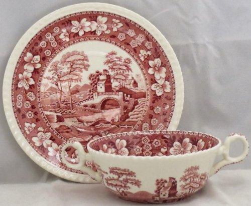 Spode Tower-Pink Flat Cream Soup Bowl & Saucer -