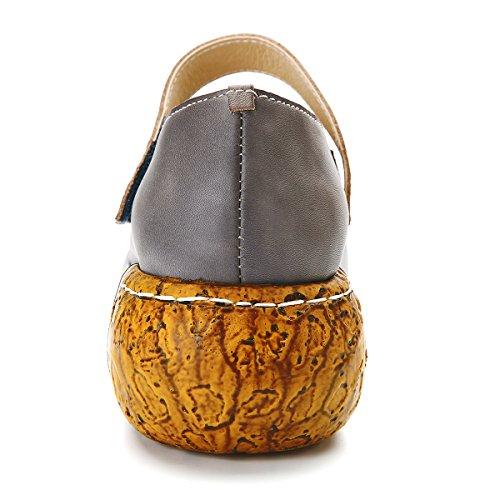 Cunei Gracosy Sandali, Delle Donne In Pelle Colorate A Mano Fiori Slip-on Sandali Depoca Piattaforma Grigio