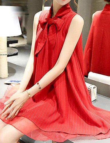 PU&PU Robe Aux femmes Trapèze Street Chic,Couleur Pleine Noeud Au dessus du genou Polyester , red-xl , red-xl