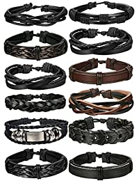 10-12 Pcs Braided Leather Bracelets for Men Women Cuff...