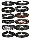 Best Leather Cuffs - FIBO STEEL 12 Pcs Braided Leather Bracelets Review