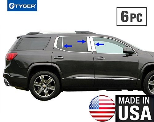 (Tyger Auto Made in USA! Works with 2017-2019 GMC Acadia Chrome Stainless Steel Pillar Post 6PC Set)