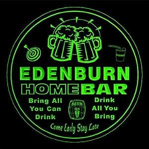 4x ccq12883-g EDENBURN Family Name Home Bar Pub Beer Club Gift 3D Engraved Coasters