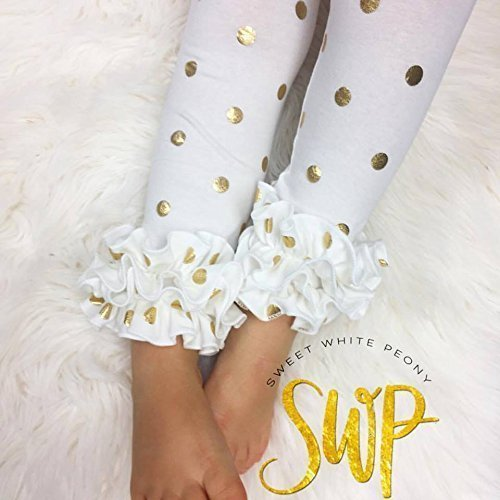 Valentines day White ruffle tunic and gold ruffle leggings set, sizes: preemies-24m