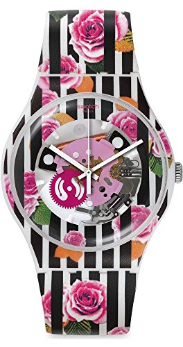 Swatch Rose Explosion Rose Patterned See Through Dial Rose Patterned Silicone Unisex Watch SUOW110