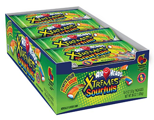 AirHeads Xtremes Sourfuls Candy Bag, Rainbow Berry, Non Melting, 2 ounces (Bulk Pack of 18)