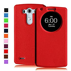 Fintie LG G3 Smart Circle Case - [Quick Circle Window] Premium PU Leather Ultra Slim [Magnetic closure] Flip Cover for LG G3 (2014) - Red