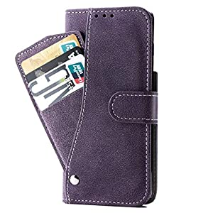 PUDINI® Wallet Case for Samsung Galaxy S21 Ultra Leather Flip Cover with Cash Card ID Holder All in-One – Purple