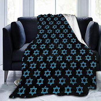 WdRaIn Hanukkah Jewish David Star Blue Pattern Blanket Flannel Fleece Blanket Soft Microfiber Blanket for Sofa Office Bed and Travelling 50