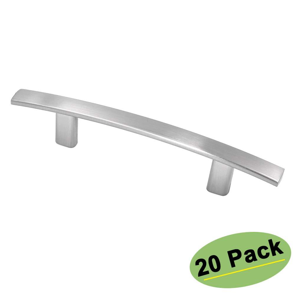 homdiy 3 inch Cabinet Pulls Brushed Nickel 20 Pack Arch Cabinet Hardware HD1003BSS76 Nickel Drawer Pulls Modern Kitchen Cabinet Handles Dresser Drawer Handles