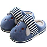 SITAILE Cute Home Shoes, Kids Fur Lined Indoor House Slippers Warm Winter Home Slippers for Boys Girls, Dark Blue-03 20