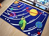 "Kids Educational Galaxy Planets Stars Rug Blue Solar System Fun Rug Children Area Rug for Playroom & Nursery - Non Skid Gel Backing (39'' x 59"")"