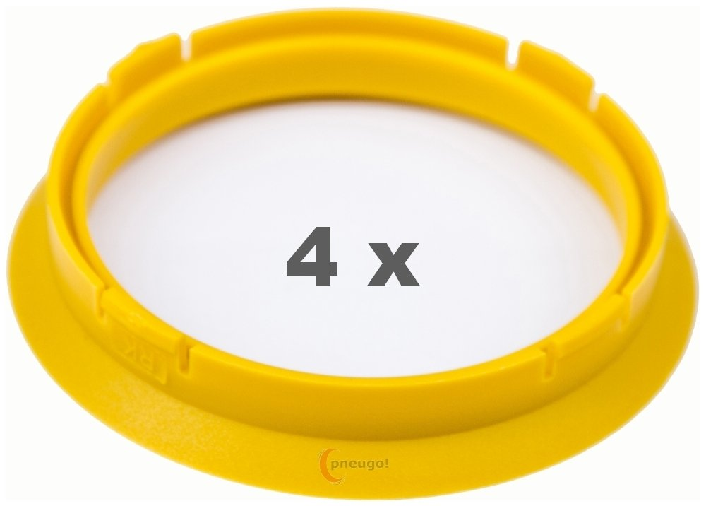 4 x Centring Rings 74.1 mm to 65.1 mm Light Yellow/Light Yellow Pneugo
