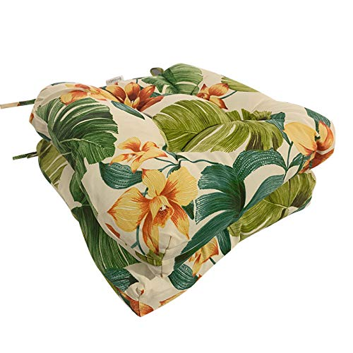 Four Seasons BeiJiaEr Series Set of 2 All Weather Chair Pads Wicker Seat Cushions Home Garden Patio with Full-Length Ties for Non-Slip Support 19 x 19 x 5 Aloha Floral Leaf