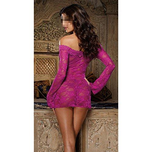 DDU(TM) 1Pc Red- Sexy Charm Lace Mesh See-through Lingerie Underwear Underclothes Nightwear Sleepwear Lovers Gift