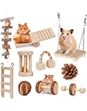 Dono Hamster Guinea Pig Toys - Natural Wooden Play Toy Exercise Bell Roller Teeth Care Molar Toy for Guinea Pig Chinchilla Hamster Parrot Bunny Fun Pet Balls Small Pets Play Toy