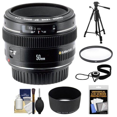 Canon EF 50mm f/1.4 USM Lens + UV Filter + ES-71II Hood + Tripod + Accessory Kit for Canon EOS 60D, 7D, 5D Mark II III, Rebel T3, T3i, T4i Digital SLR Cameras