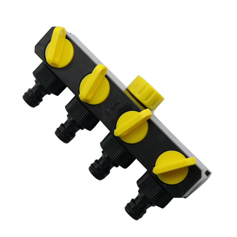 Ground Sprinklers 3/4 Inch Female Thread Hose Splitter Agriculture Garden Irrigation 4-Way Water Faucet Adapter Water Hose Connector 1 Pc Black 3/4''