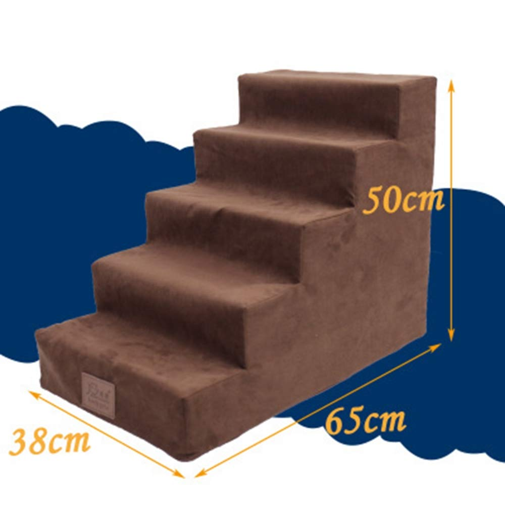 Dog Stair Cat Dog Pet Climbing Stairs Small Dog Teddy Two Layers Three Layers Four Layers Five Stairs Bedding Ladder Brown Five Layers by CHMHY